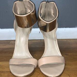 bebe nude gold ankle strap high heel sandal